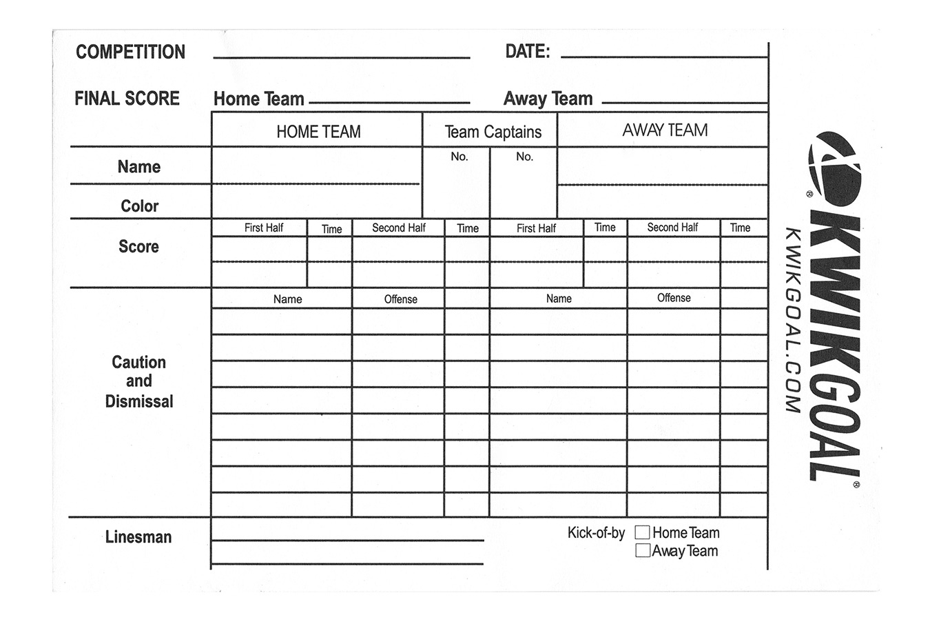 Referee Score Sheet 15b1301 Kwik Goal Soccer Store