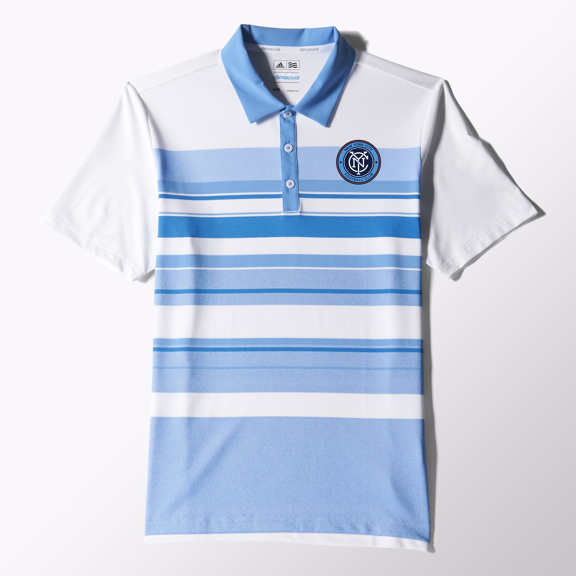 54eae4e49 adidas NYCFC Stripe Polo Shirt - White Light Blue