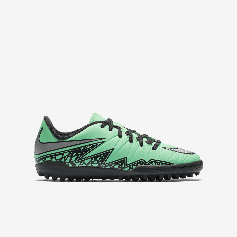 Nike Mens Turf Soccer Shoes  Nike Hypervenom Phelon II TF  Green GlowHyper OrangeMetallic Silver