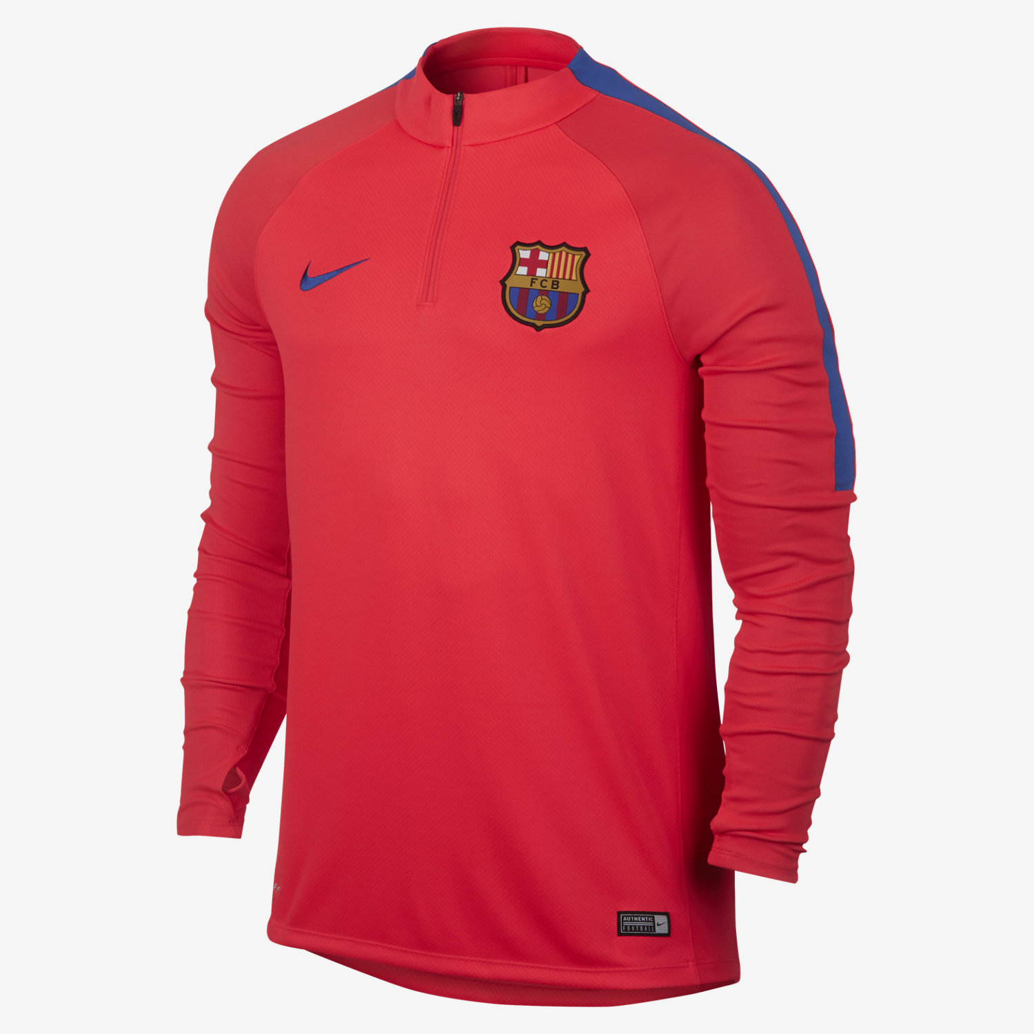 151dec34a Authentic FC Barcelona crest and colors show your club pride.Kimono-style  neck construction minimizes seams for enhanced comfort.Thumbholes help hold  the ...
