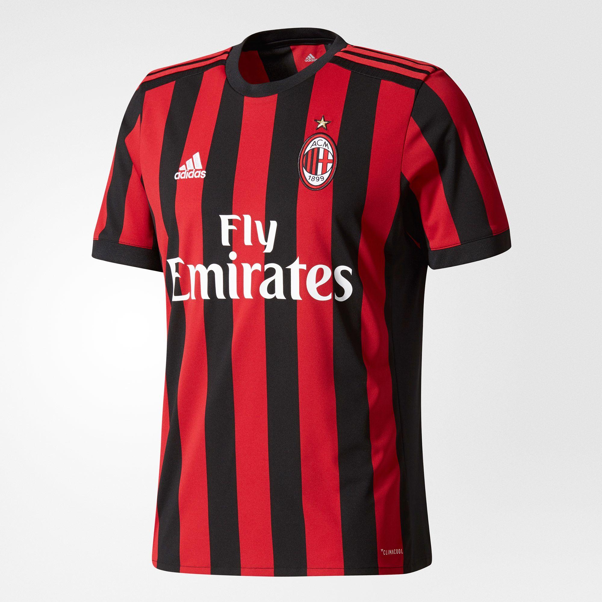 adidas AC Milan Home Jersey 2017/18 - Black/Red