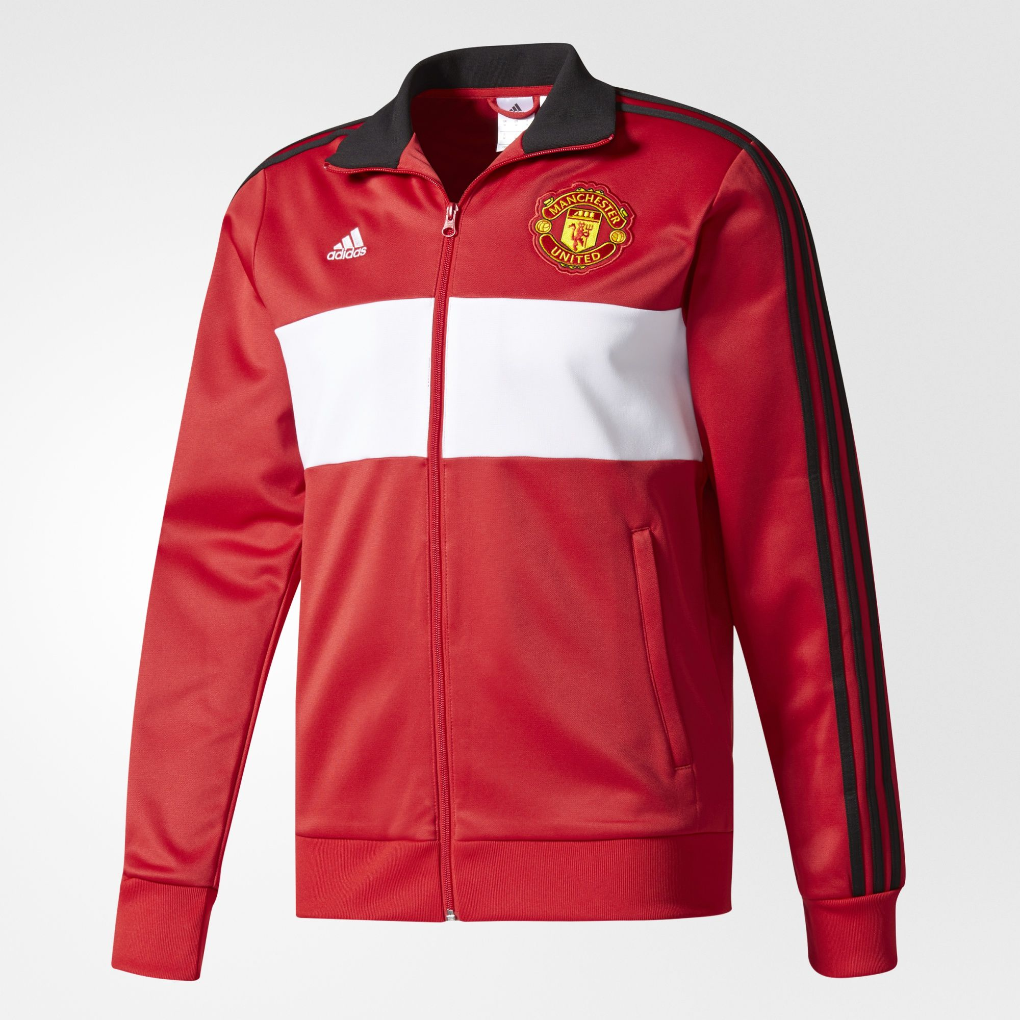 0ad7c30af23 Front zip pocketsFull zip with hoodRibbed hem and cuffsManchester United  embroidered crest on left chest3-Stripes on sleevesadidas Badge of Sport  woven on ...