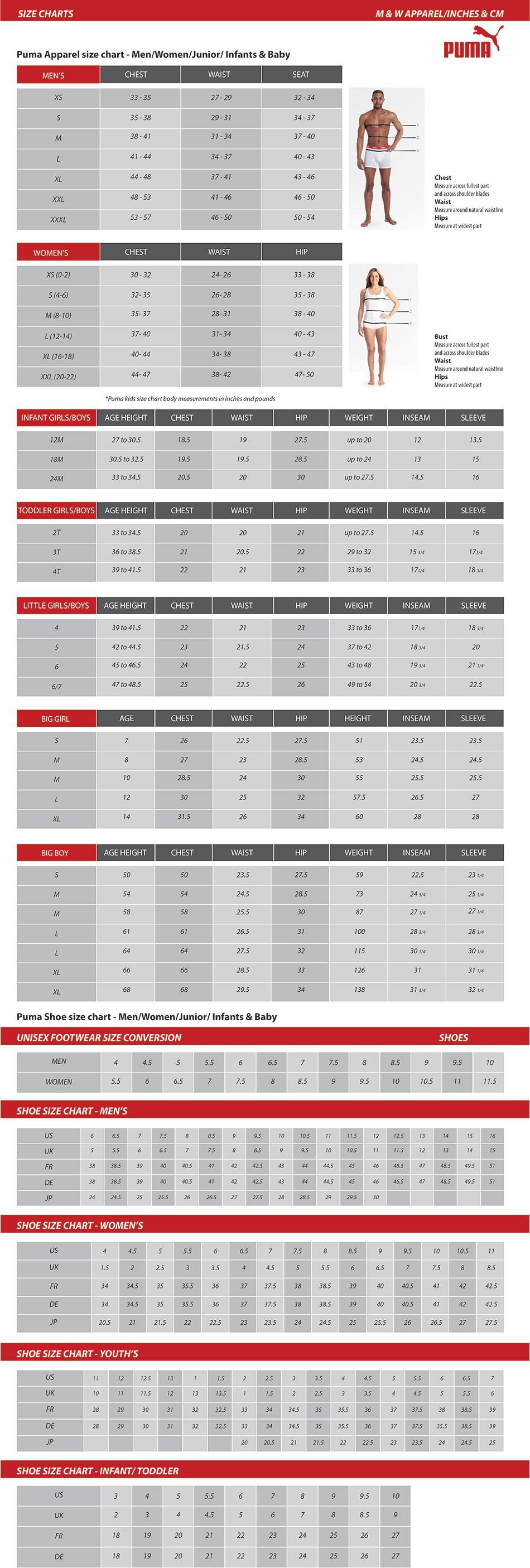 Puma size Chart